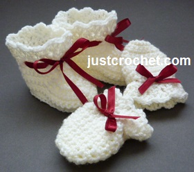 Free Baby Crochet Pattern Booties And Mitts Usa