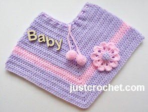 Free Baby Crochet Pattern Poncho With Applique Flower Usa