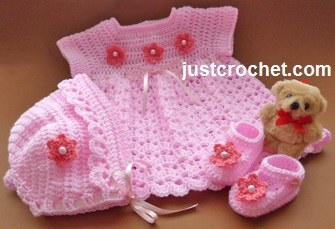 Hope you enjoy this free baby crochet pattern for a dress, bonnet and ...