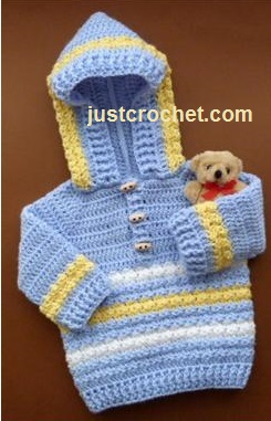 Free Crochet Patterns For Baby Hoodies : Free baby crochet pattern hoodie usa