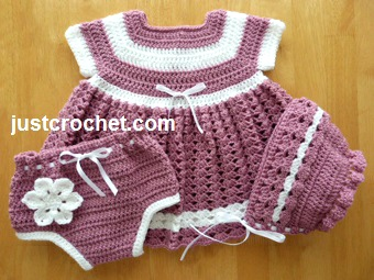 Free Baby Crochet Pattern Dress Knickers And Bonnet Usa