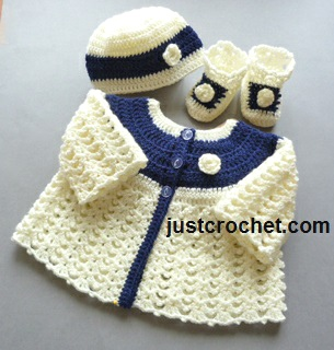 Free Baby Crochet Pattern Matinee Coat Set Usa