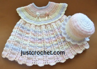Free baby crochet pattern dress and sun hat usa
