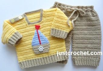 Free Baby Crochet Pattern Sweater And Pants Usa